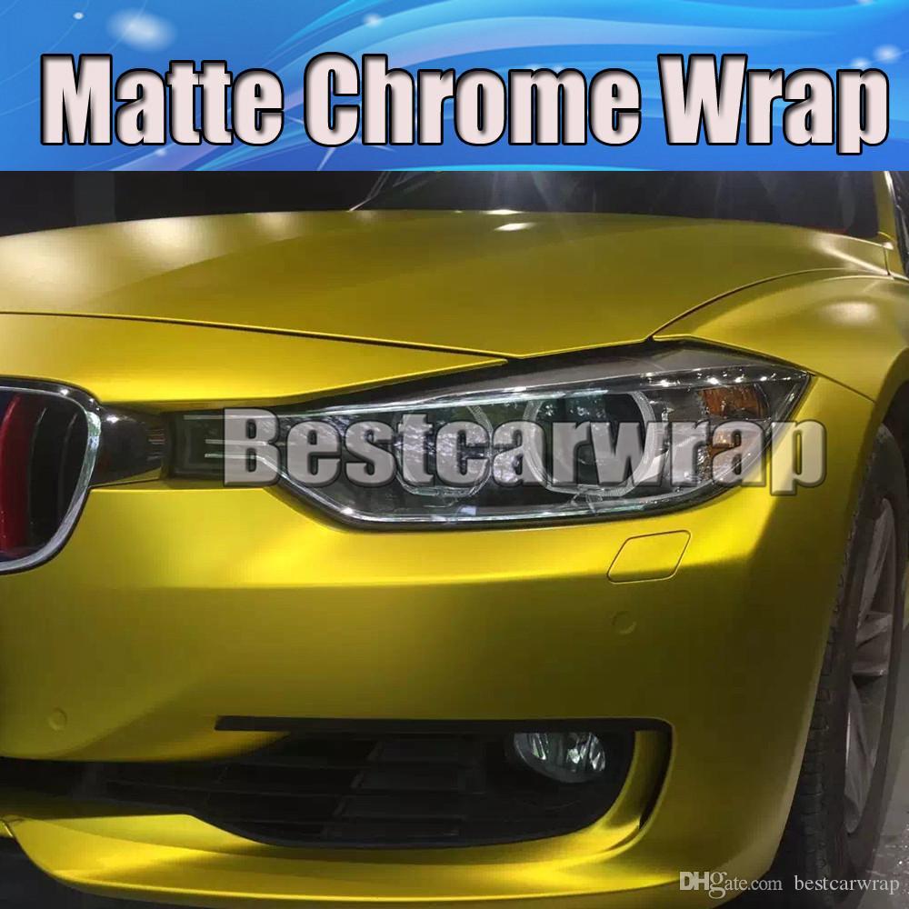 Premium Gold satin chrome Vinyl Wrap Car wrap Film with Air Bubble Free Golden matte chrome vehicle wrap styling foil like 3m 1.52x20m/Roll