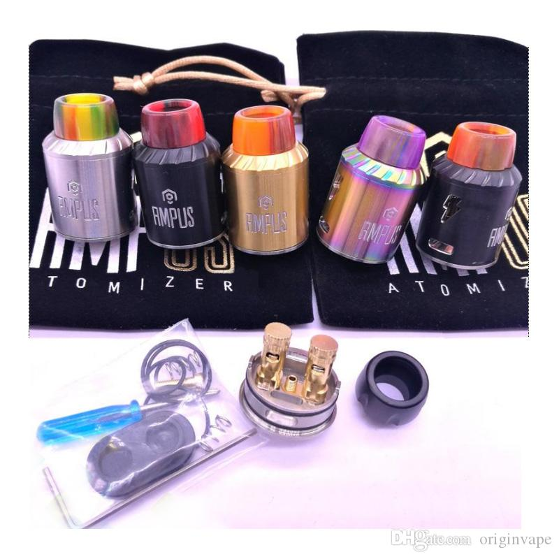 New Arrival Screwless Ampus RDA Atomizer with Spring Posts BF Pin and Epoxy Resin 810 Drip Tip 24.5mm Fit 510 Mods