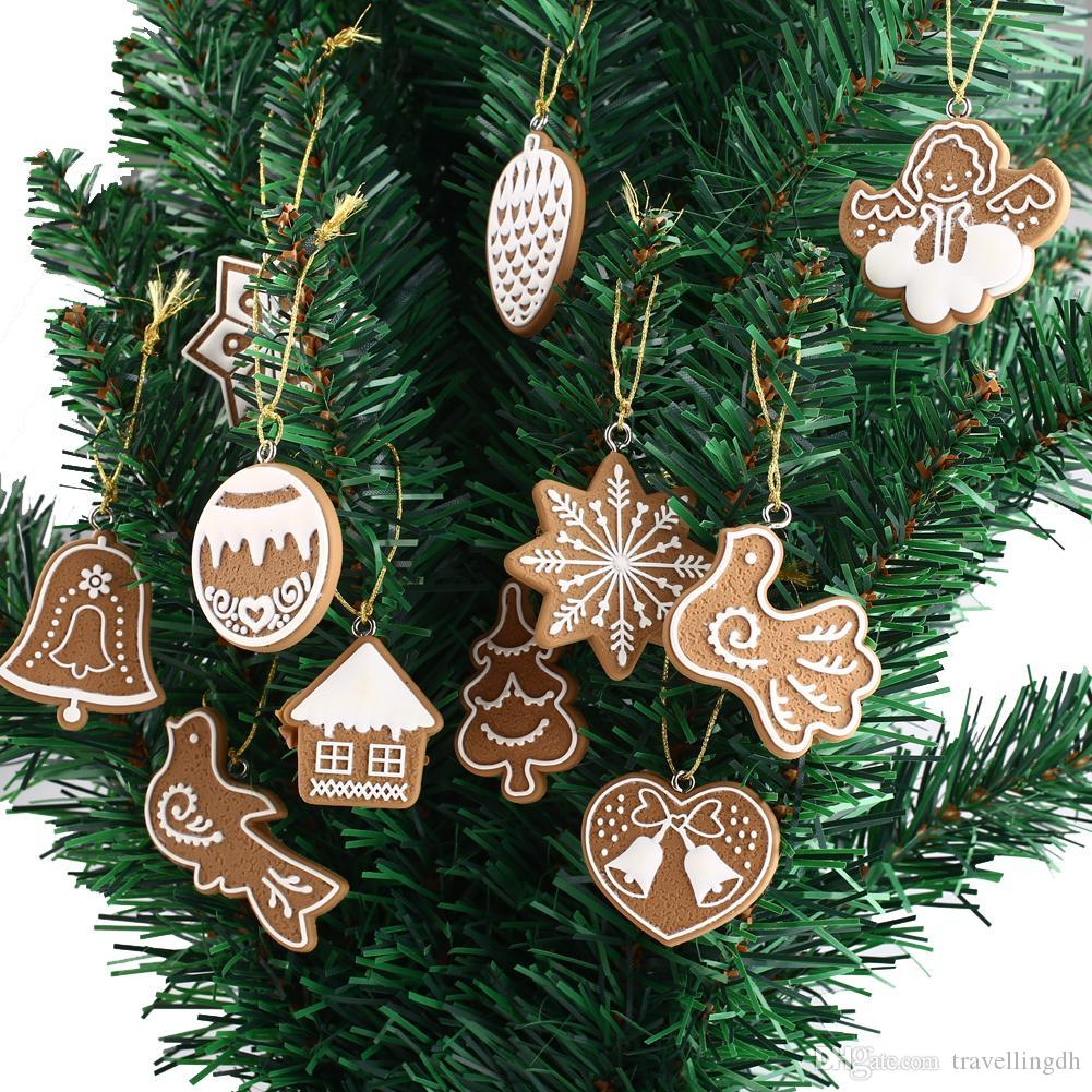 11Pcs Polymer Clay Christmas Tree Snowflake Bell Hanging Pendant DIY Ornament#