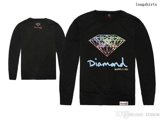 Fornecimento de diamante CO t - shirts Homens Hip Hop Impressão Roupas Manga Longa O-pescoço Camisetas Outono de Algodão