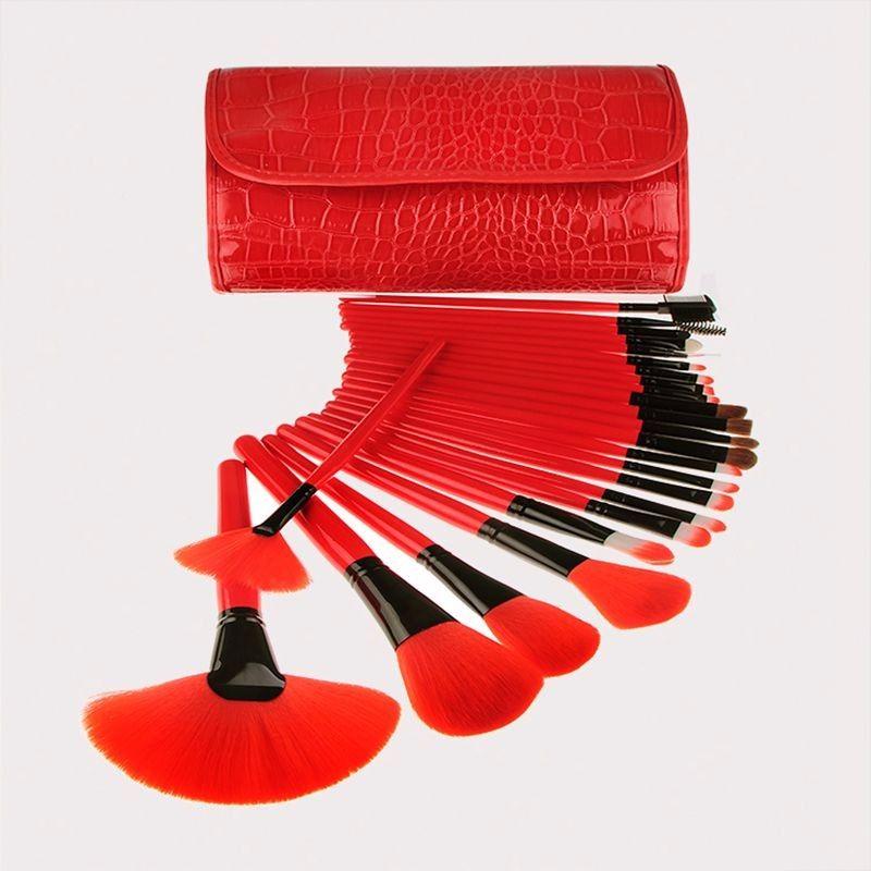 المهنية 24pcs نمط تمساح حقيبة الأحمر ماكياج فرشاة مجموعة أدوات الأساس أدوات الزينة المكياج فرشاة التجميل مسحوق مزج