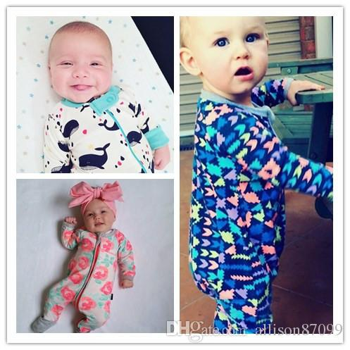 Baby Pajamas Romper with Hands foot cover Boy girl jumpsuits Print Long zipper Hotsale Ins 2019 Fall winter wholesale