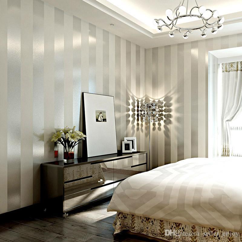 papier peint non tissé rouleau mur classique de fond de papier peint à rayures paillettes métallique fond d'écran 3d décoration blanc