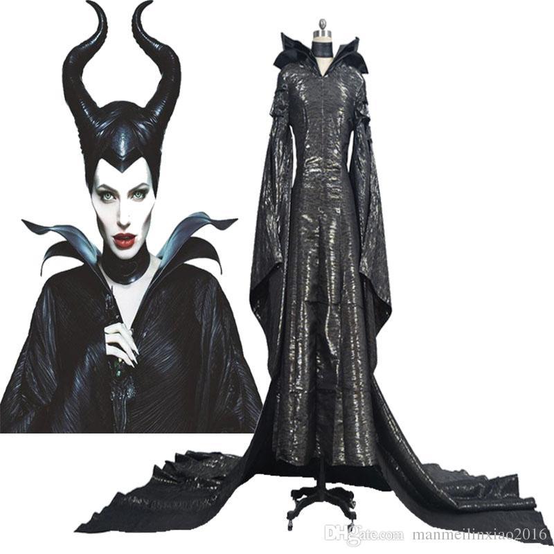 Hot Halloween Cos Maleficent Angelina Jolie Cosplay Costume Womens Black Dress Suit Custom Made Chrismas Handmade Black And White Theme Party Costume