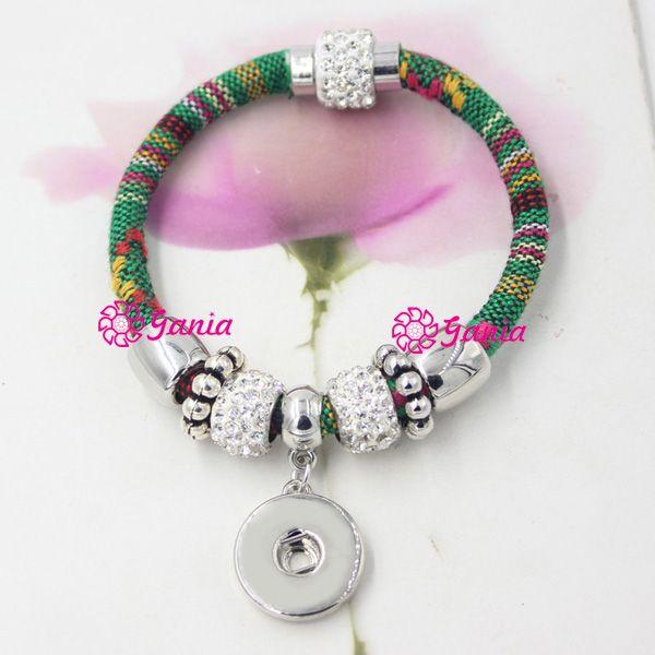 10 colores intercambiables trozos Snap pulsera, Cierre magnético más cerca estilo mexicano bohemio estilo DIY Snaps pulseras al por mayor