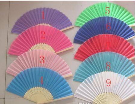 중국어 실크 대나무 손 팬 웨딩 팬 신부 액세서리 2015 새로운 도착 파티 선물 다른 색상 H110