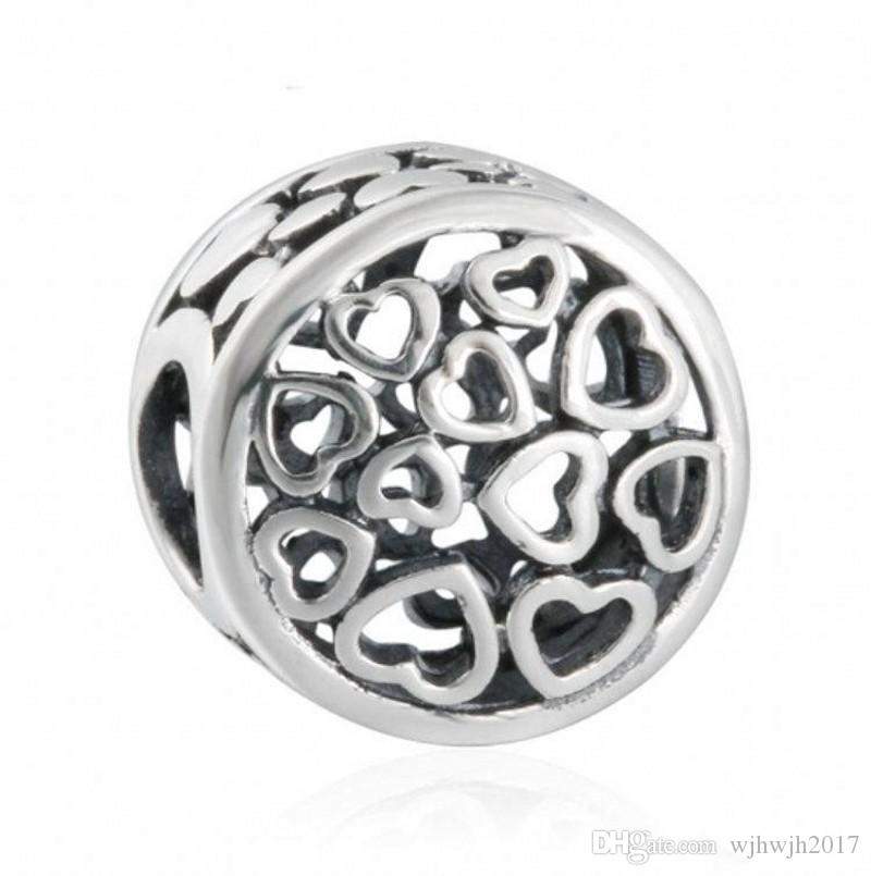New Authentic 925 Sterling-Silver-Jewelry Openwork Heart Charms Beads Loving Sentiments Charm Beads For DIY Bracelets Jewelry Making