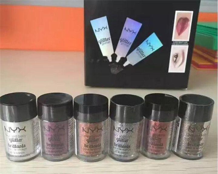 인기있는 NYX Glitter Primer 크림 컨실러 크림 NYX Glitter Face and Body Shimmer Powder 6 색 아이 섀도우 파우더.