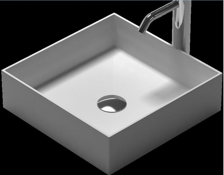 Square Bathroom Solid Surface Stone Wash Basin Under-Counter Matt White Or Glossy Laundry Vessel Sink RS38336