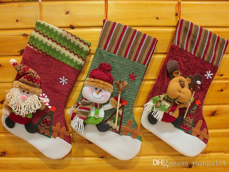 Free shipping 2016 happy Christmas lovely stockings hanging indoor family festival Ornaments SHB050