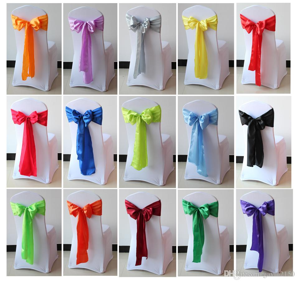 Free Shipping 25pcs 18*275cm High Quality Satin Chair Sashes Bow For Hotel Wedding Banquet Decoration In 20 Colors