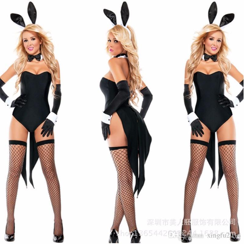 High Quality Sexy Black Bunny Costume Halloween Rabbit Girl Holloween Clothing nightclub rabbit Jumpsuit Rabbit Cosplay Bodysuit