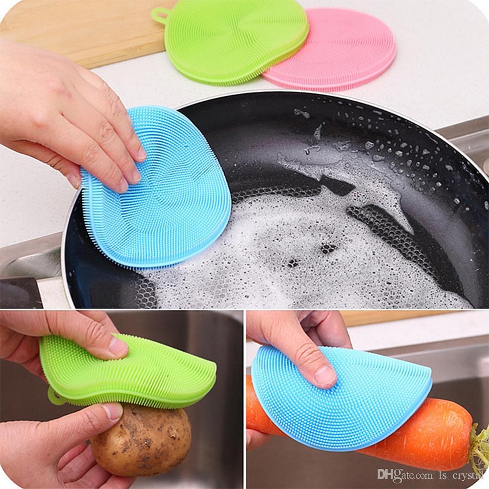 4.5 بوصة لتنظيف معقمة سيليكون مزدوجة طبق الغسيل الغسيل المطبخ الخضار فرشاة تنظيف العالمي 10 قطعة / الوحدة DEC330