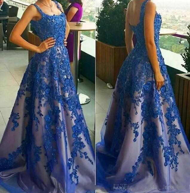 2021 Partykleider Vestido de Festa Longo Royal Blue Prom Dress Günstige lange Abendkleider Made Spitze Applikationen