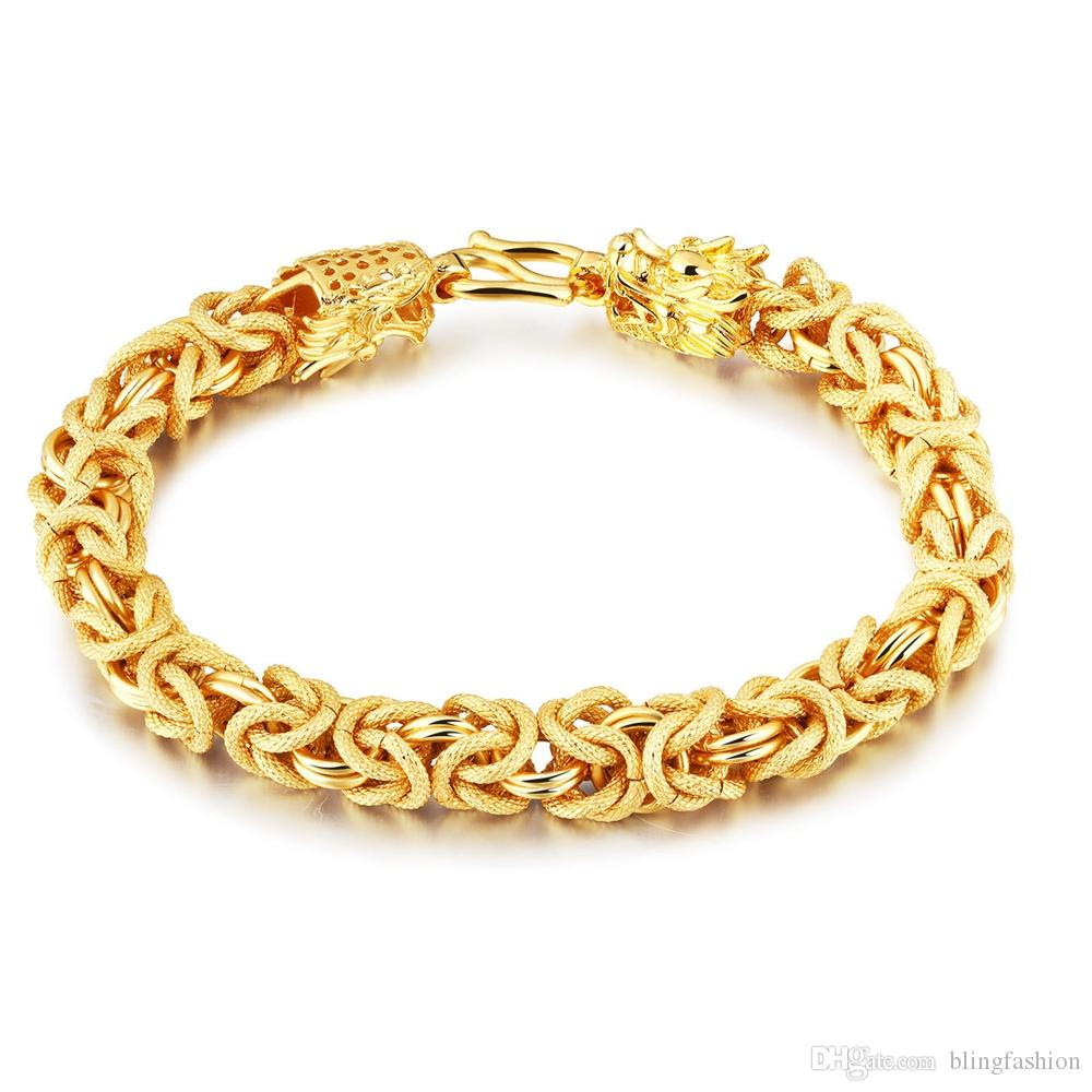 Dickes schweres Handgelenk Armband Kette 18kk gelbes Gold gefüllt Mens Solid Armband Herren Schmuck klassisches Geschenk 7,87 Zoll