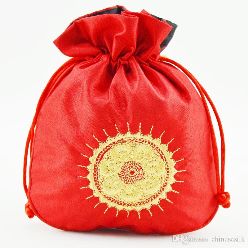 Ethnic Embroidery Sun Fabric Gift Pouch Satin Drawstring Jewelry Gift Packaging Bags Lavender Perfume Coin Storage Pocket Sachet 3pcs/lot