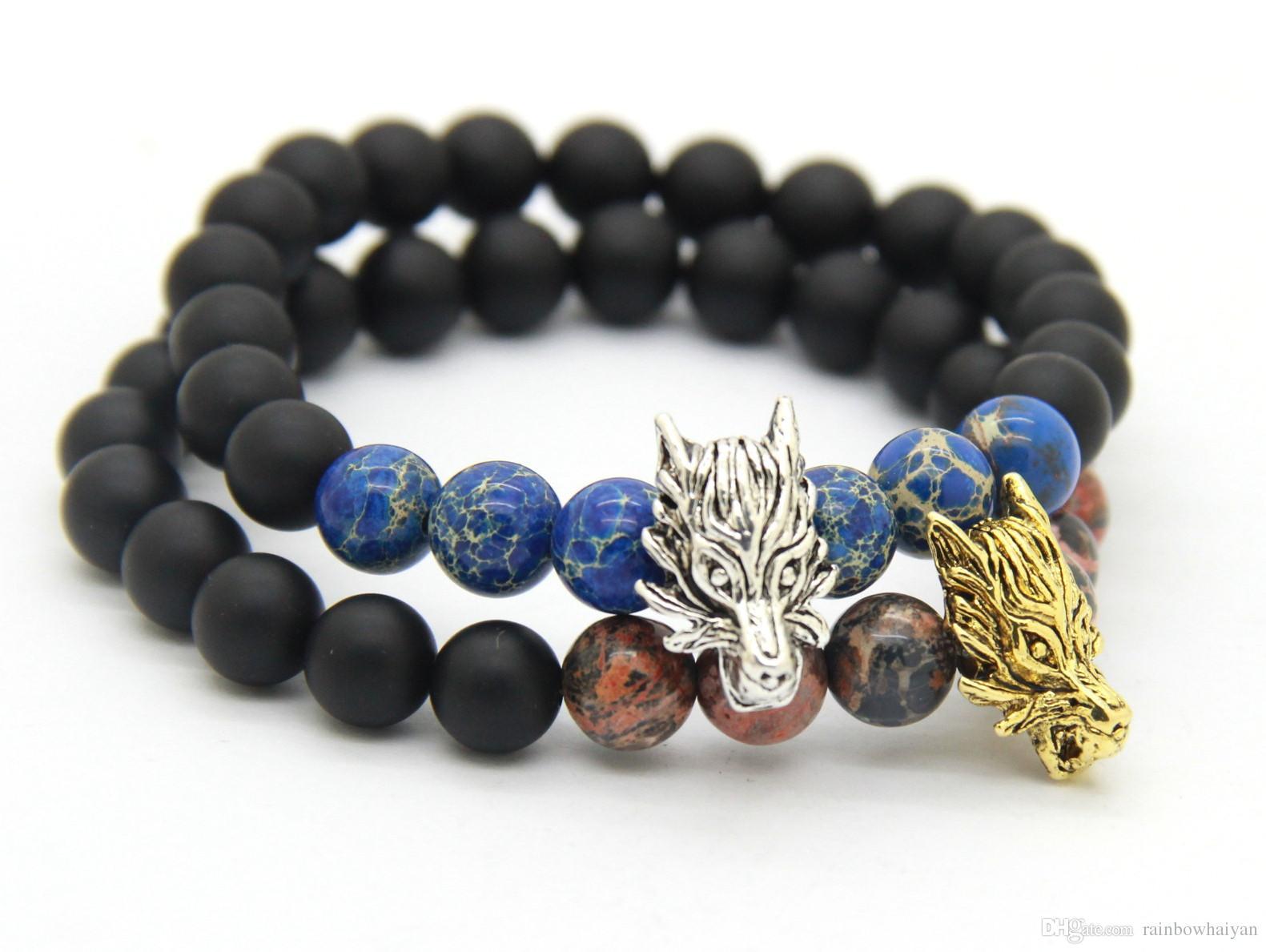 Nieuwe aankomst kralen heren stretch armbanden groothandel matte agaat, blauwe zee sediment steen goud en zilveren wolf armbanden heren geschenk sieraden