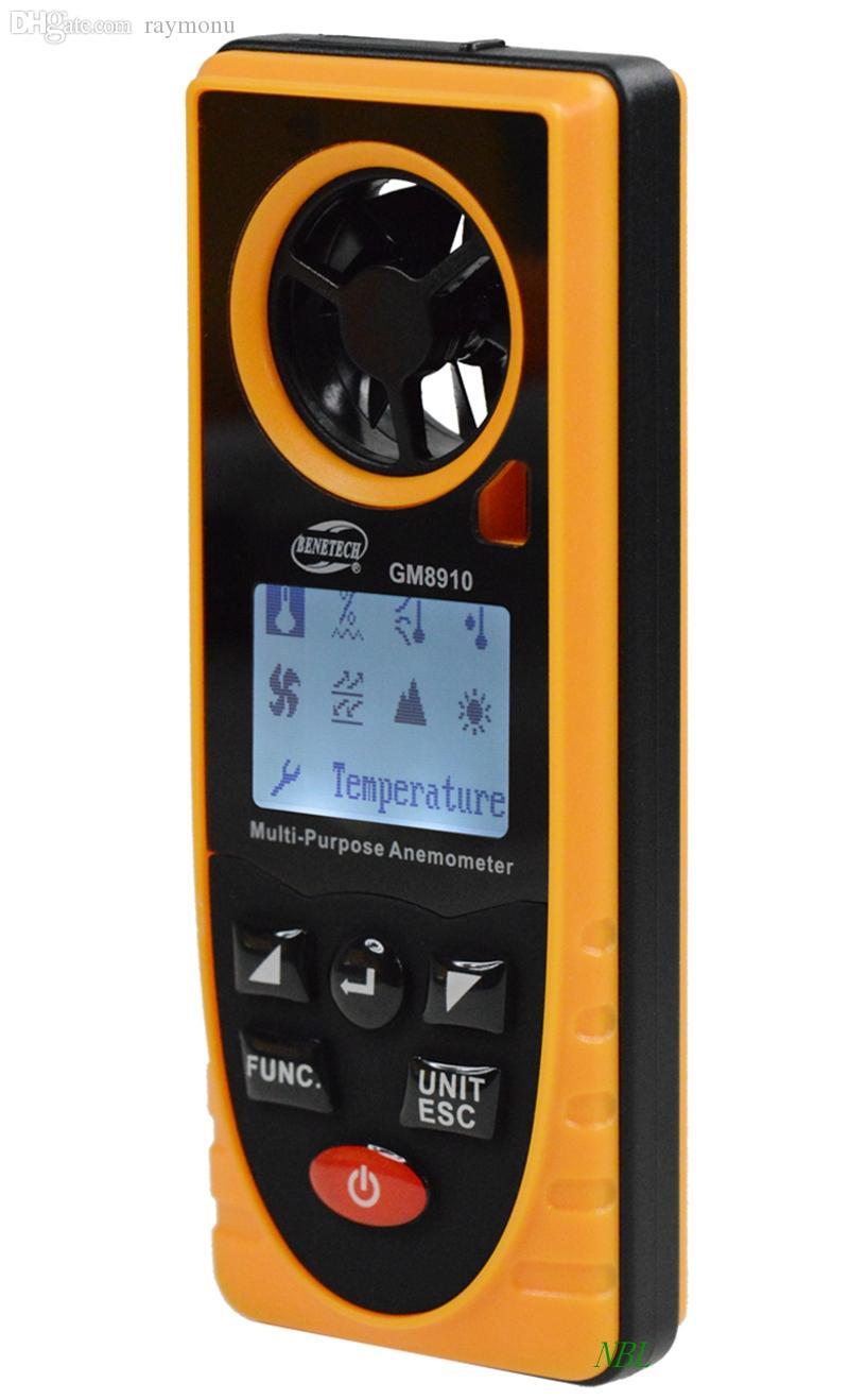 도매 다기능 디지털 풍속계 GM8910 온도 습도 측정 대기 조명 강도 측정기 핫 판매