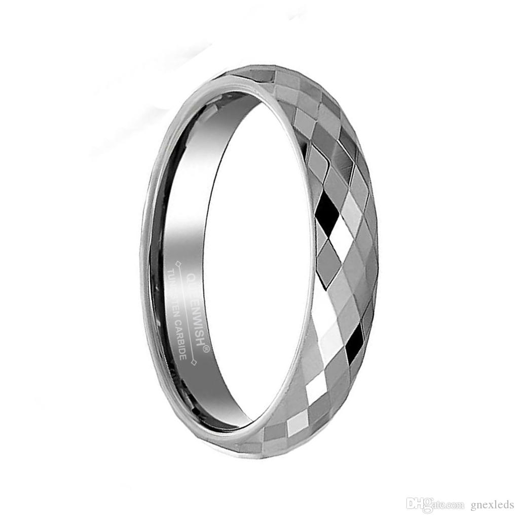 3/4/5/6/8mm Tungsten Karbür Düğün Nişan Yüzükleri Çok Yönlü Prizma Kesim Yıldönümü Çiftler için Promise Yüzükler Bildirimi Takı