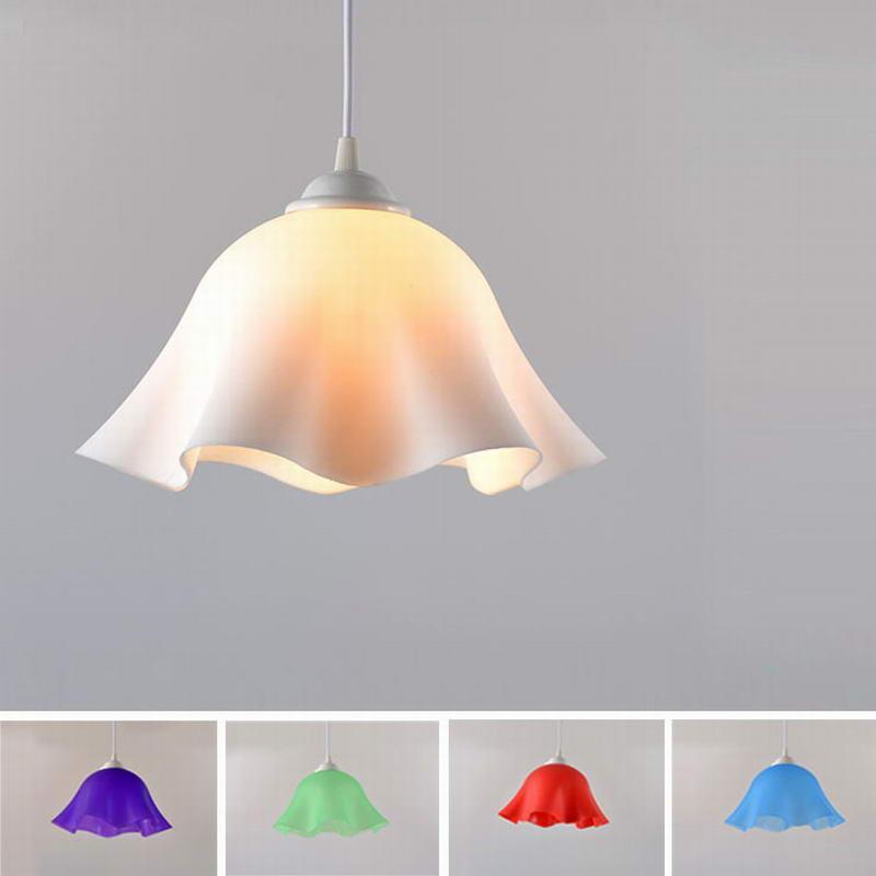 Modern plastic led pendant lights e27 flower shade lamp restaurant bar coffee dining/living room bathroom hanging light fixture