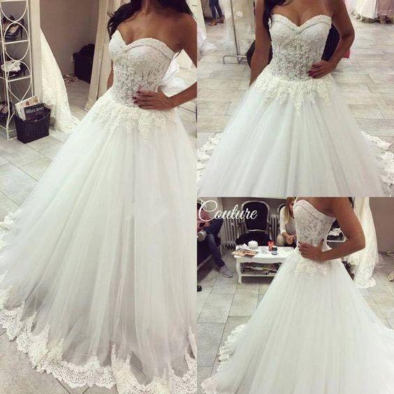 Elgeant Lace Wedding Dresses 2017 Sweetheart Beaded Applique Fish - Wedding Dresses 2017 Lace