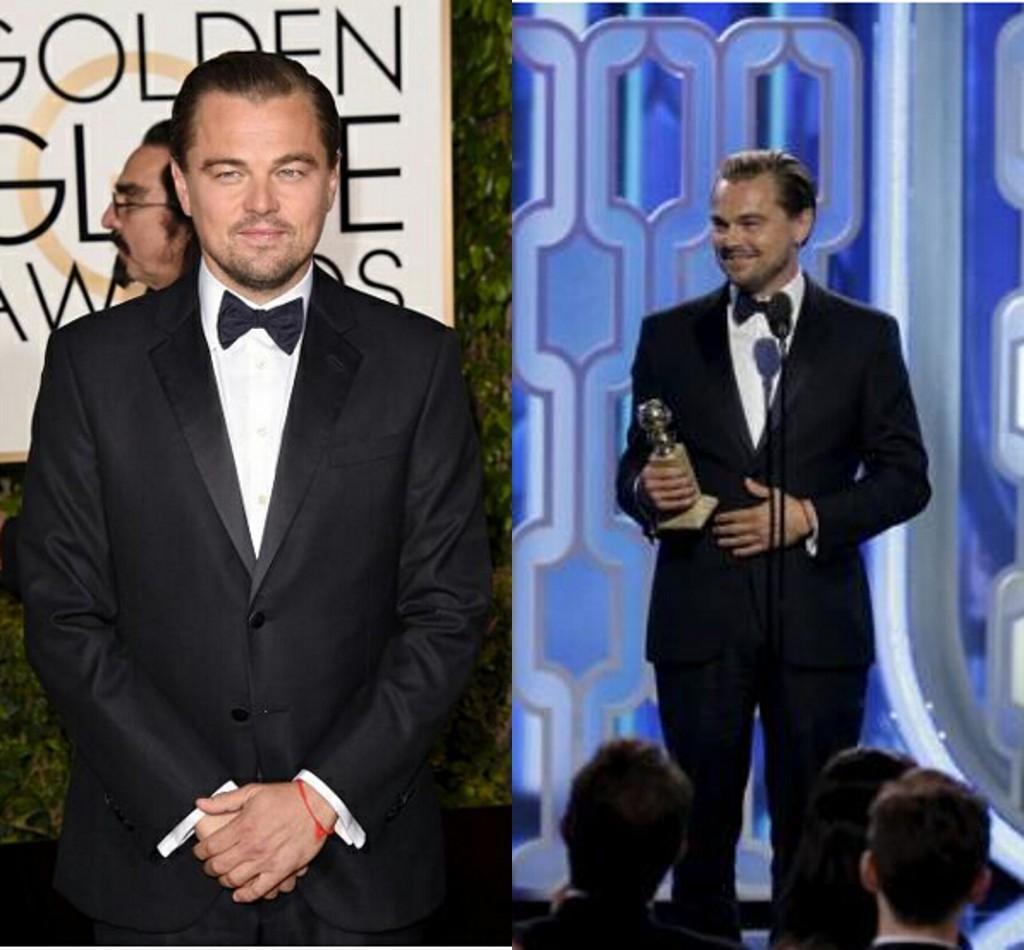 Globos de oro Película Rey Leonardo DiCaprio Tailcoats Dos botones Trajes de boda formales Novio Tuxedos Classic (Chaqueta + Pantalones)