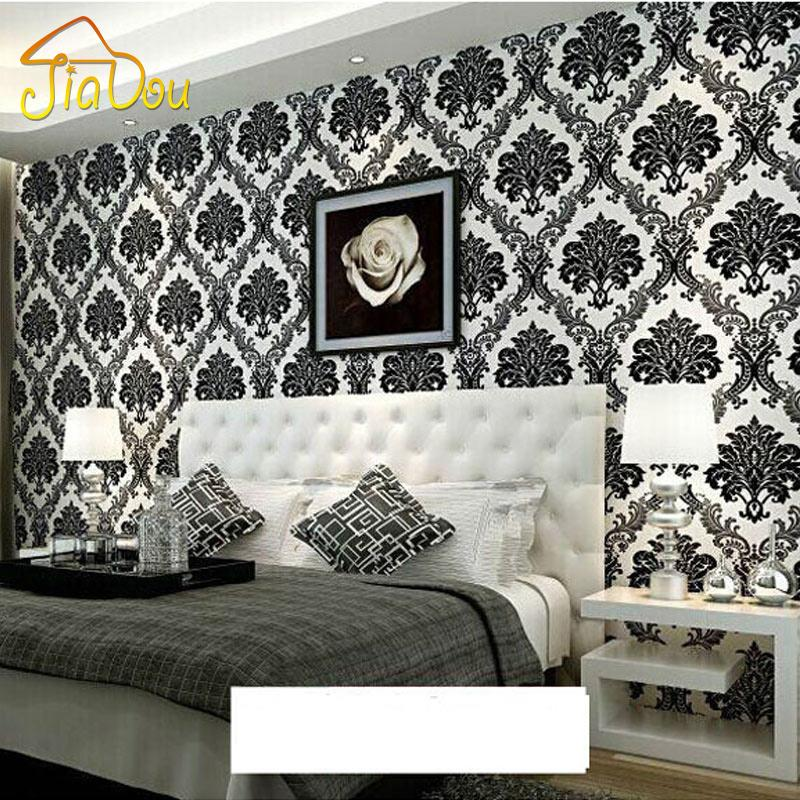 Luxury European Style Damask Wallpaper Roll For Walls 3D Floral Embossed Textured Non-woven Flocking Wall Paper For Living Room