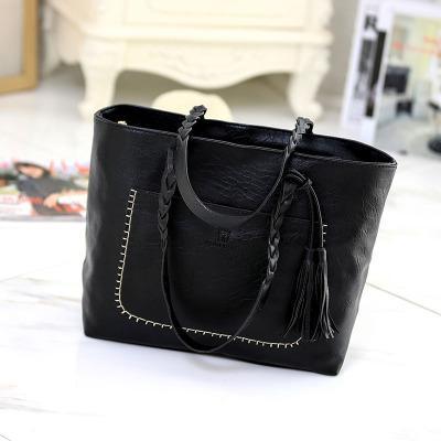 Women Leather Handbag Tassel Shoulder Bag Large Capacity Satchel Shopper Totes #