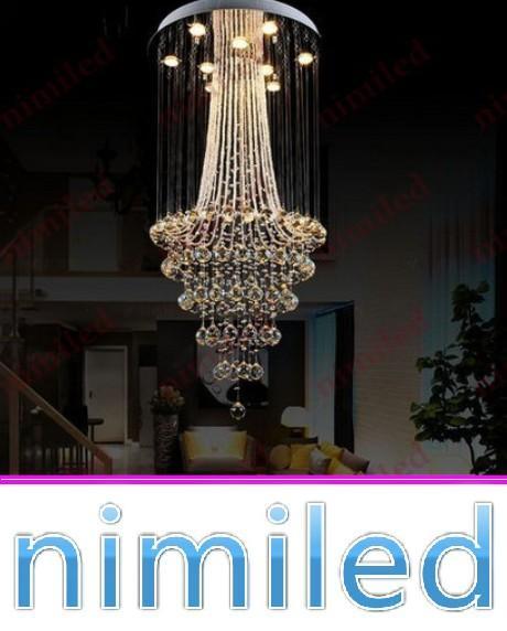 nimi677 dia 40/50/60/70/80 / 90cm K9 lustre en cristal restaurant lumière salon salle Duplex Penthouse escalier lampe pendentif éclairage