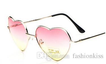 الجملة-أنثى لطيف شكل قلب نظارات التدرج مرآة الزخرفية نظارات الرجعية القيادة مرآة معدنية نظارات المرأة النظارات