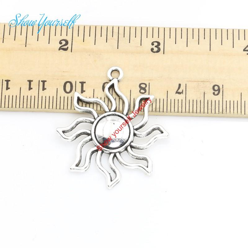 10 teile / los Antikes Silber Überzogene Sun Charms Anhänger für Halskette Schmuck Handgemachte Fertigkeit DIY 35x31mm