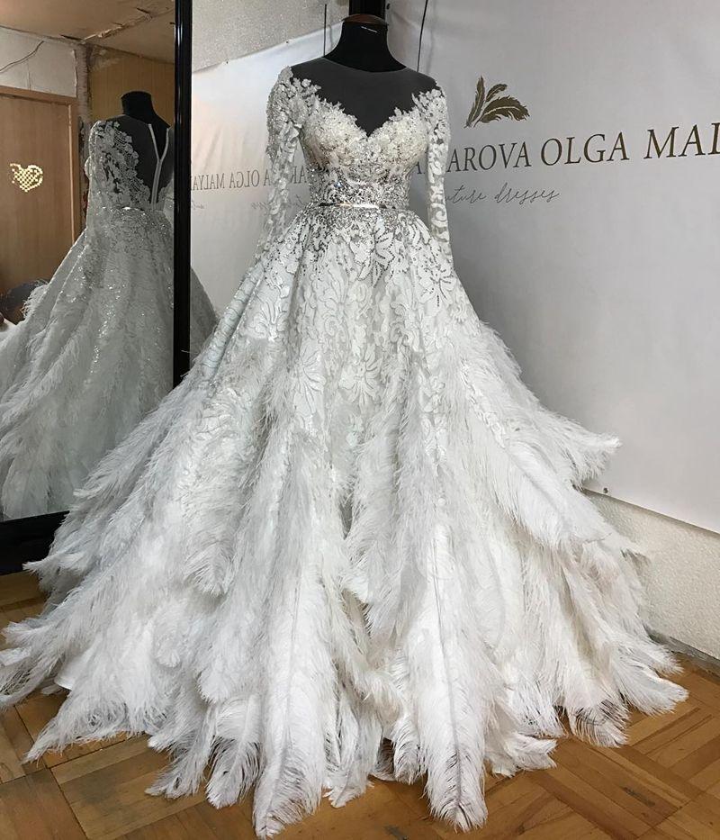 Gorgeous Lace Feathers Wedding Ball Gowns Luxury Dubai Bridal Dress ...
