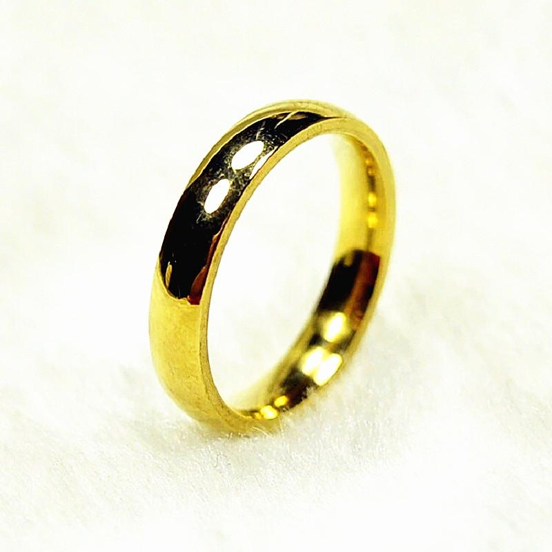 Brand New 25PCs Golden 4mm Inside Polished Stainless Steel Wedding Band Jewelry Rings Wholesale Mixed Lots