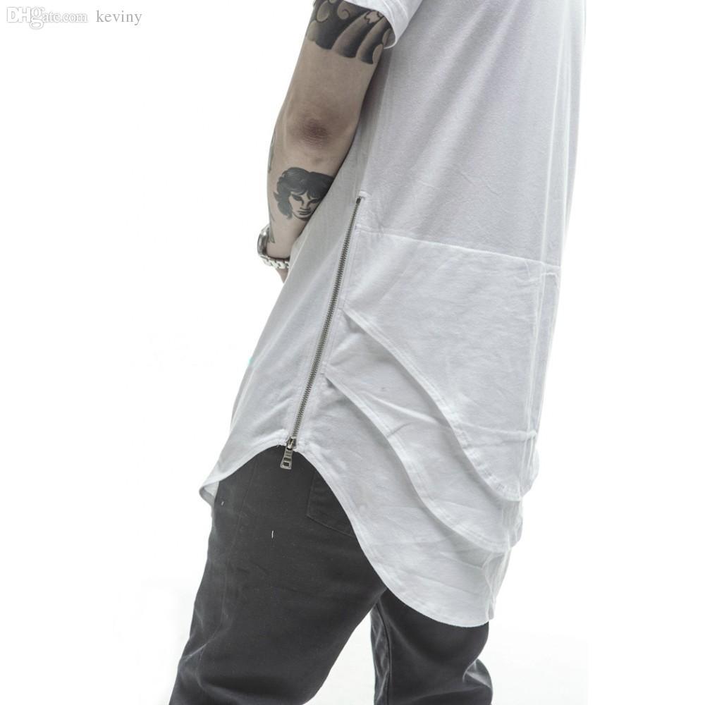 Toptan-Justin Bieber Extended Tişörtlü Mens Fishtail Çok Eğimli Hem Yan Fermuar Kısa Kollu Longline T shirt Hip Hop katlayın