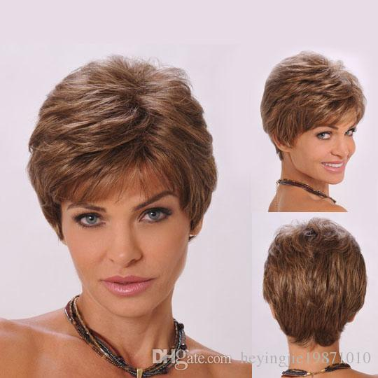 Xiu Zhi Mei 8inch Heat Resistant Synthetic Puffy Short Brown Wigs For Black Women Natural African American Wig With Bangs Free Shipping