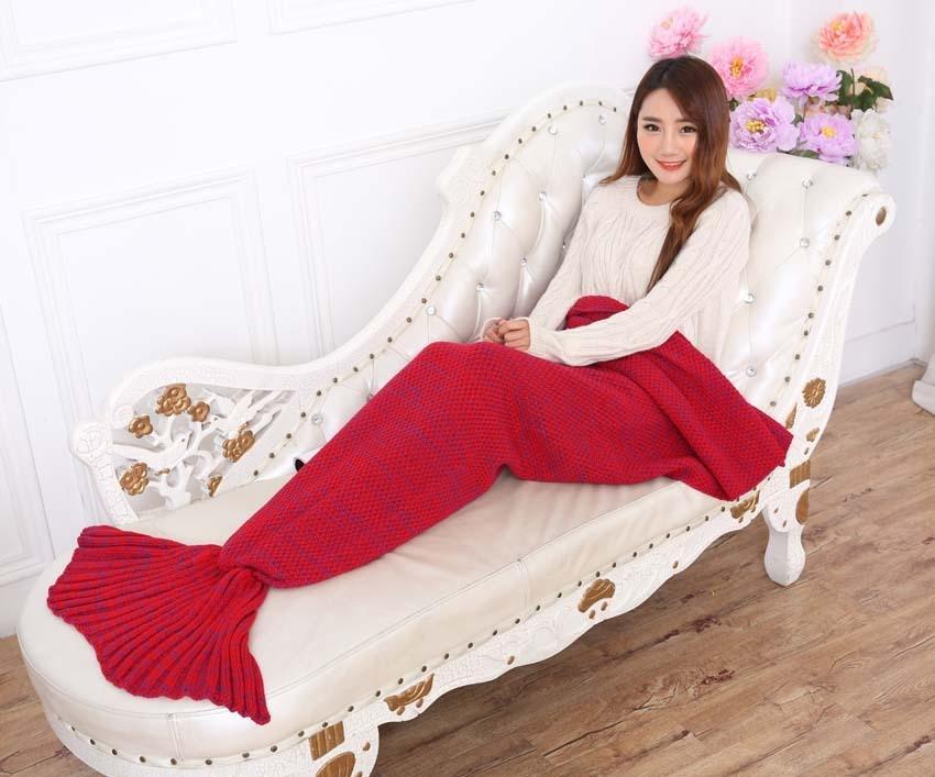 Yarn Knitted Mermaid Tail Blanket Handmade Crochet Mermaid Blanket Kids Throw Bed Wrap Super Soft Sleeping Bed X184 (12)