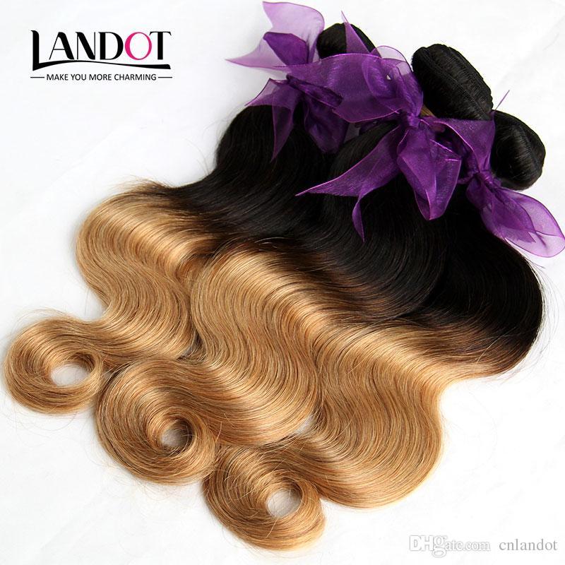 4Pcs Lot 8-30Inch Two Tone Ombre Mongolian Virgin Hair Weave Bundles Body Wave Wavy Color 1B/27 Blonde Ombre Mongolian Human Hair Extensions