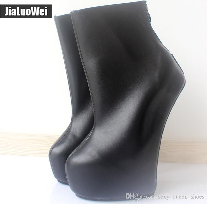 Nuovi tacchi alti 20cm piattaforma 5cm donne sexy stivaletti alla caviglia Fetish tacco nudo stile sconosciuto suola caviglia tacco posteriore zip zeppe moda stivale