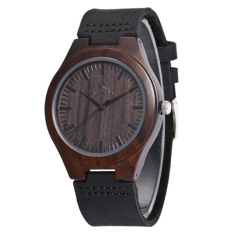 black sandalwood watch quartz A grade leather strap natural wood watches for men and women lovers' couple wristwatch