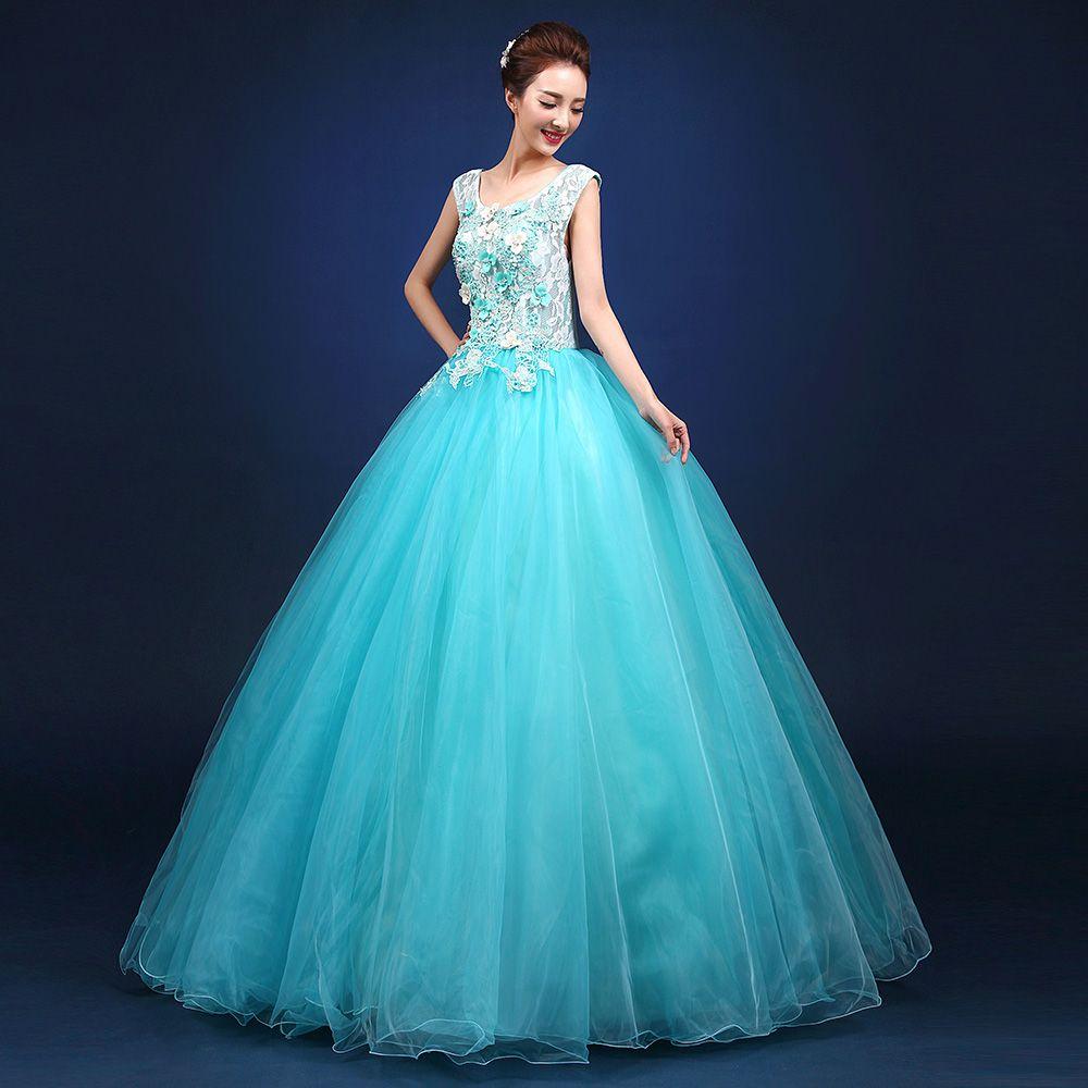 Işık gökyüzü mavi dantel çiçek pullu boncuk nakış balo prenses cosplay ortaçağ elbise / dans / sahne performansı / solo kıyafeti