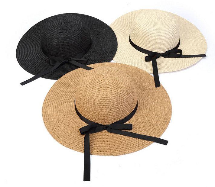 여름 여자 잔디 머리 띠 모자 어린이 활 리본 해변 모자 아이 빈 밖에서 sunhats 아기 패션 밀 짚 모자 활 a9296