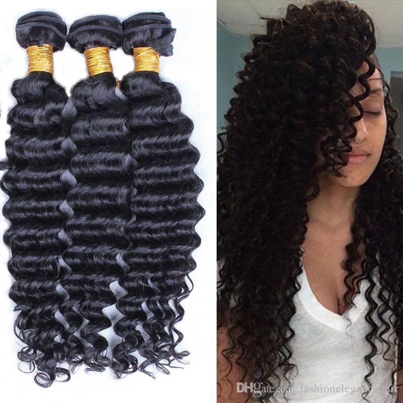 6A Brazilian Deep Wave Hair Weave Human Hair Products 3/4pcs Indian Peruvian Malaysian Virgin Hair Curly,100% Unprocessed Hair Extensions