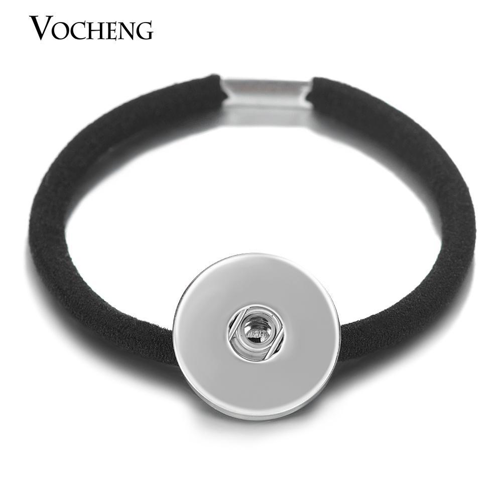 VOCHENG NOOSA 탄성 머리 밴드 스냅 매력 18mm Headwears 여자 블랙 쥬얼리 NN-497