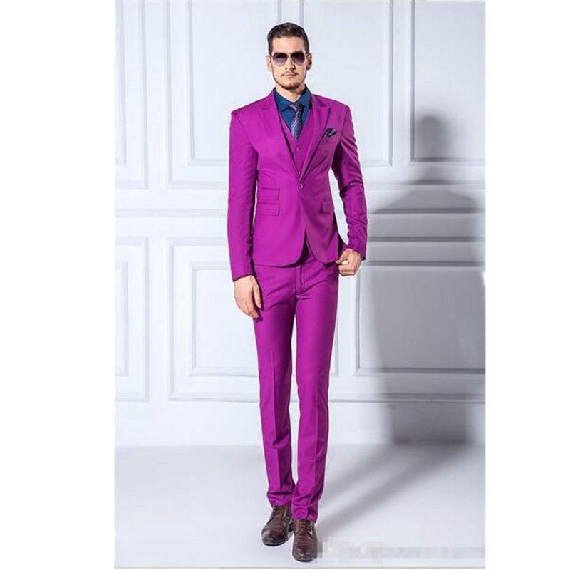 2018 Jackets+Pants+Vest Men Suits Slim Blazers Tuxedo Groom Prom ...