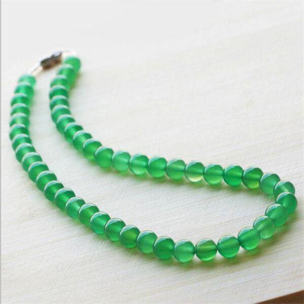 New Natural Green Agata Catena Agata Fatti a mano Collana perline per diy gioielli di giada Fashion Donne Donne Decorazione regalo