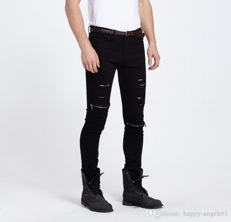 Hola, hombres de la calle Salpicaduras de tinta Plisado ripped Skinny Biker jeans streetwear swag Hip Hop Motocicleta Biker Jeans Pantalones