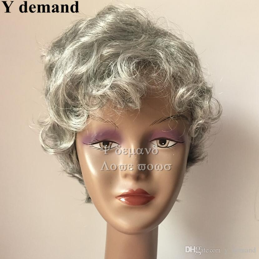 High quality Short Layered Fluffy Wig For Ladies Pixie Cut Wig Natural Curly Silver White Synthetic Hair