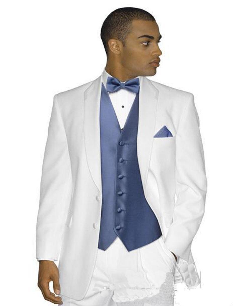 Toptan-2017 Smokin Düğün Suit Groomsmen takım Elbise Fit Slim Balo Iki Düğme Beyaz Ceket Ve Lacivert (Ceket + Pantolon + Yelek)