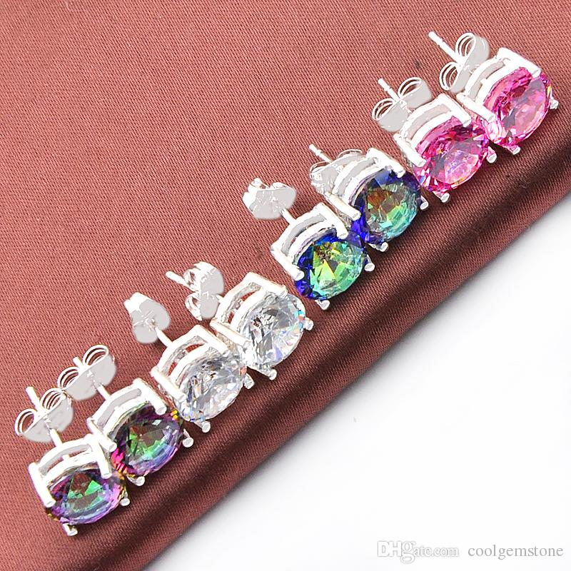 Mix Color 4Pairs /Lot Classic Round Fire Mystic Topaz Zirconia Stud Earrings Gems 925 Silver Stud Earrings for Wedding Party Holiday Gifts