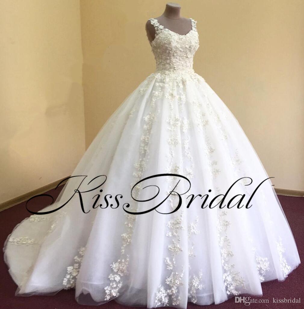 Real Photos Lace Wedding Dresses Princess Big Ball Gown Straps Lace Bridal Gowns Dubai Arabic Dresses For Wedding Wedding Gown Beautiful Dresses From Kissbridal 365 83 Dhgate Com